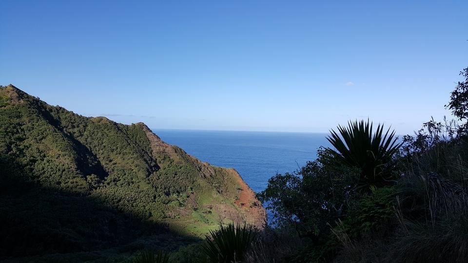 在夏威夷州考艾岛的卡拉劳小径上的海岸线