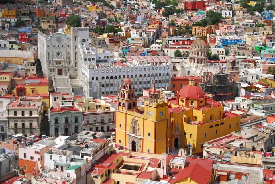 Vista of colorful city Guanajuato - Old Cathedral