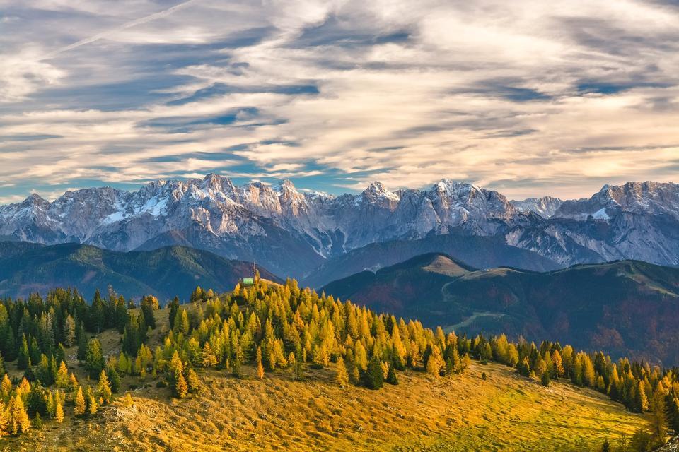 Mountain sunrise panorama in Alps Mountain