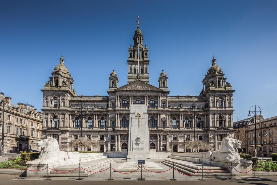 The Cenotaph war memorial in front of the City Chambers