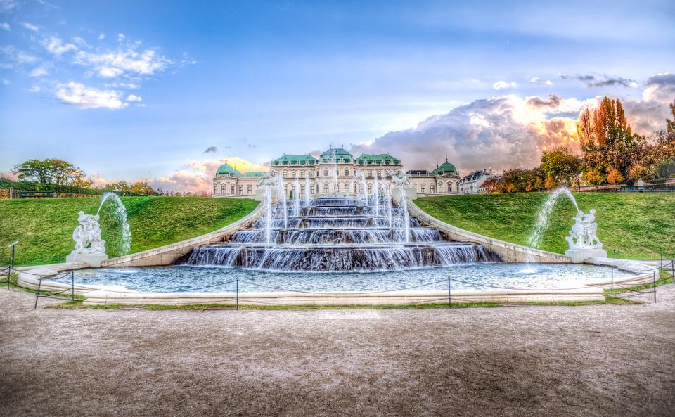 Fountain at castle Belvedere, Vienna, at a cloudy day