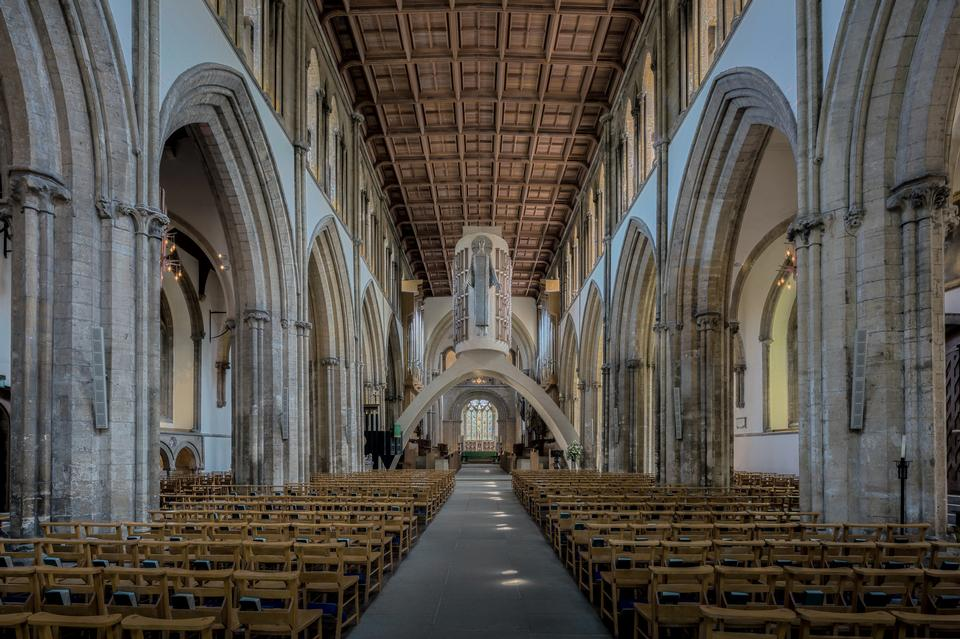 Interior of Llandaff Cathedral, Wales, UK