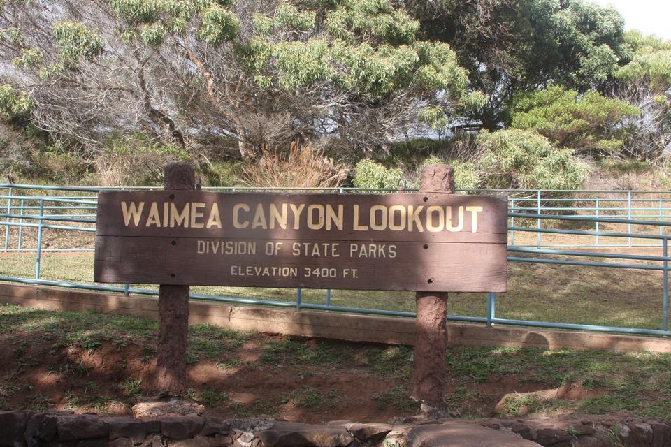 威美亚峡谷了望标志,考艾岛,夏威夷,
