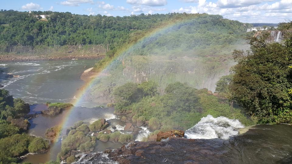 Iguassu waterfalls with rainbow on a sunny day