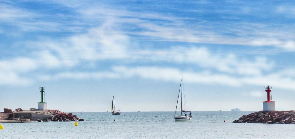 Beautiful white yacht on the sea