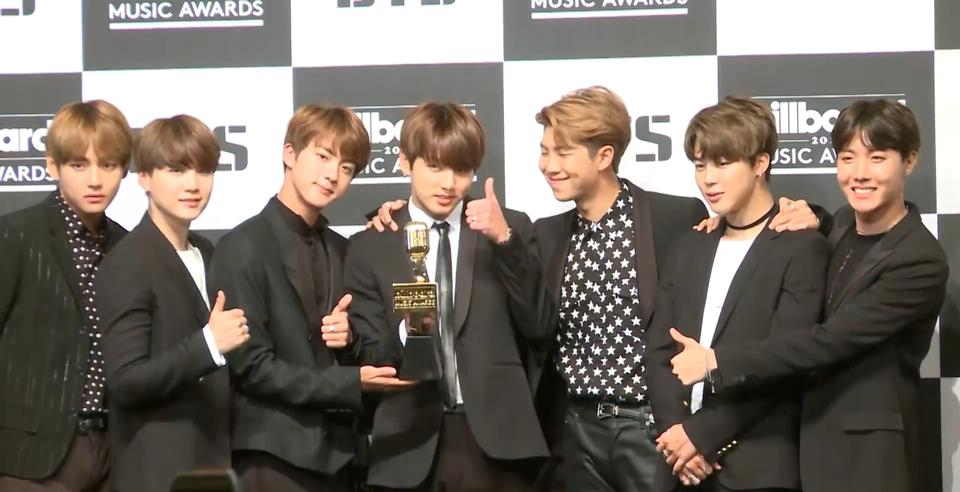 BTS at their press conference in Seoul, South Korea
