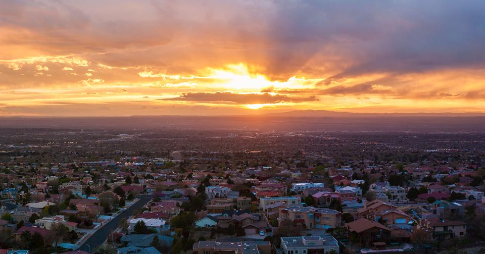 Albuquerque, New Mexico Skyline at sunset
