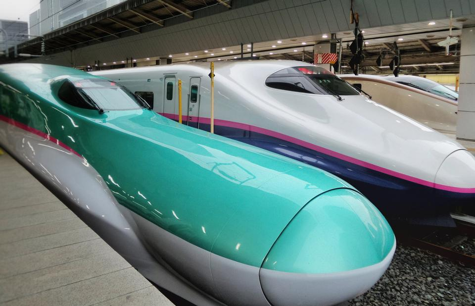 Shinkansen Hayabusa train and other in Tokyo Station, Japan