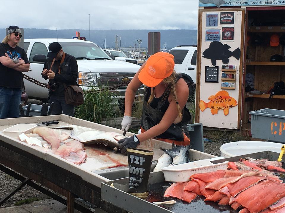 在阿拉斯加苏厄德附近清理几条三文鱼