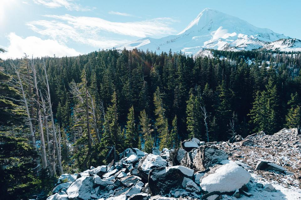 Majestic View of Mt. Hood on a bright, sunny day