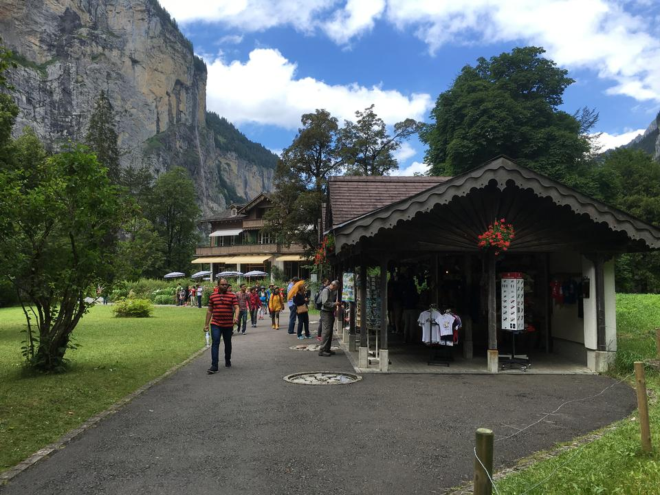 Lauterbrunnen valley with gorgeous waterfall and Swiss Alps