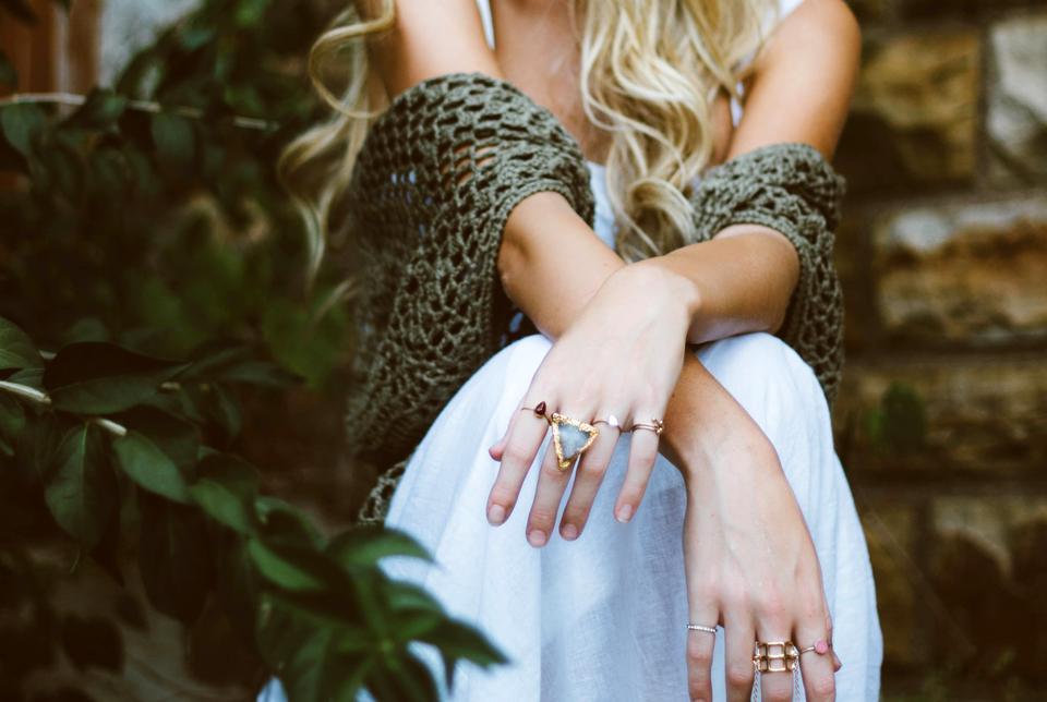 Close up of elegant diamond ring on woman finger