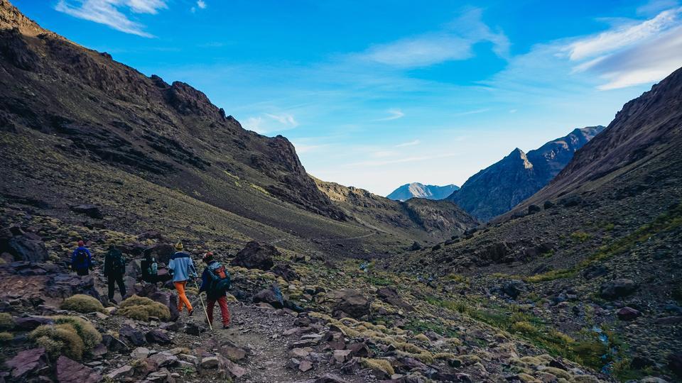 people hiking through Africa