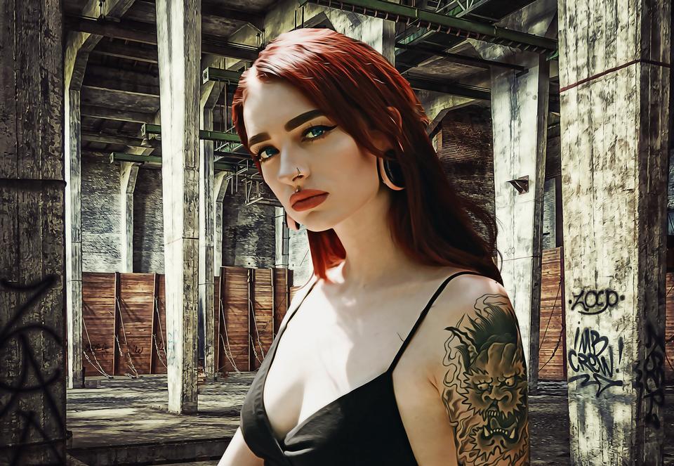 Beautiful tattooed woman with red lipstick