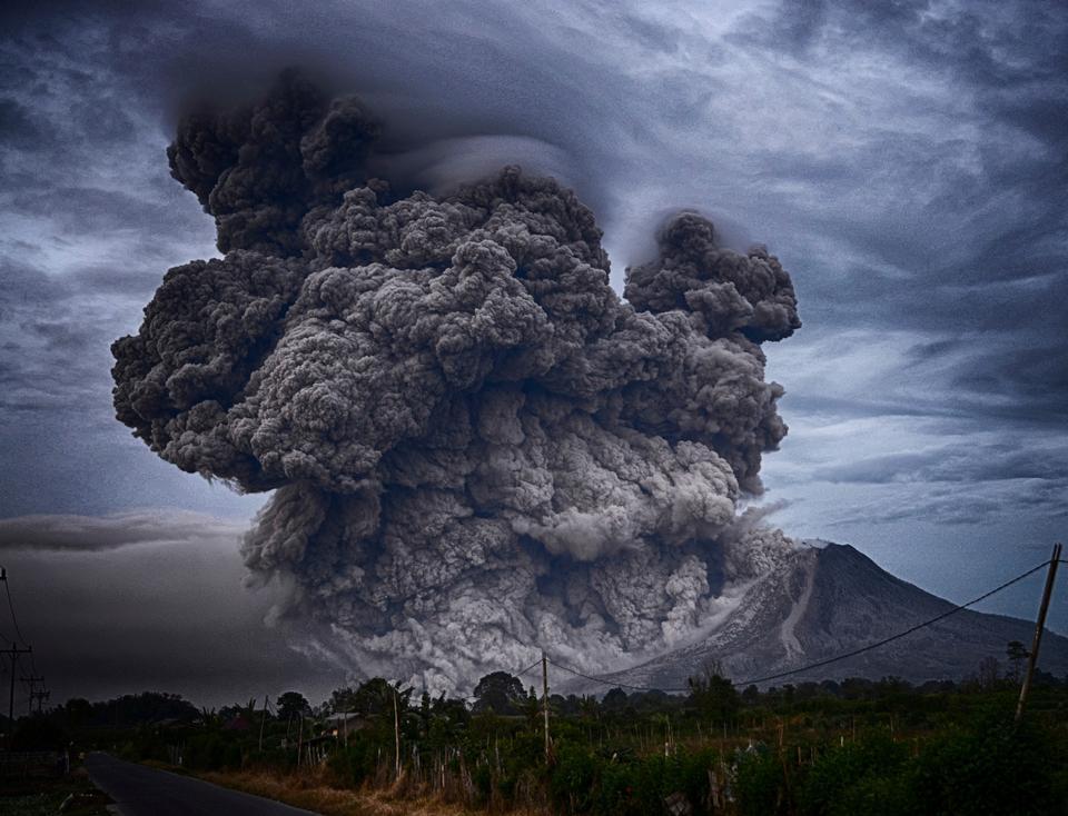 The volcano Eyjafjallajokull erupting in Iceland