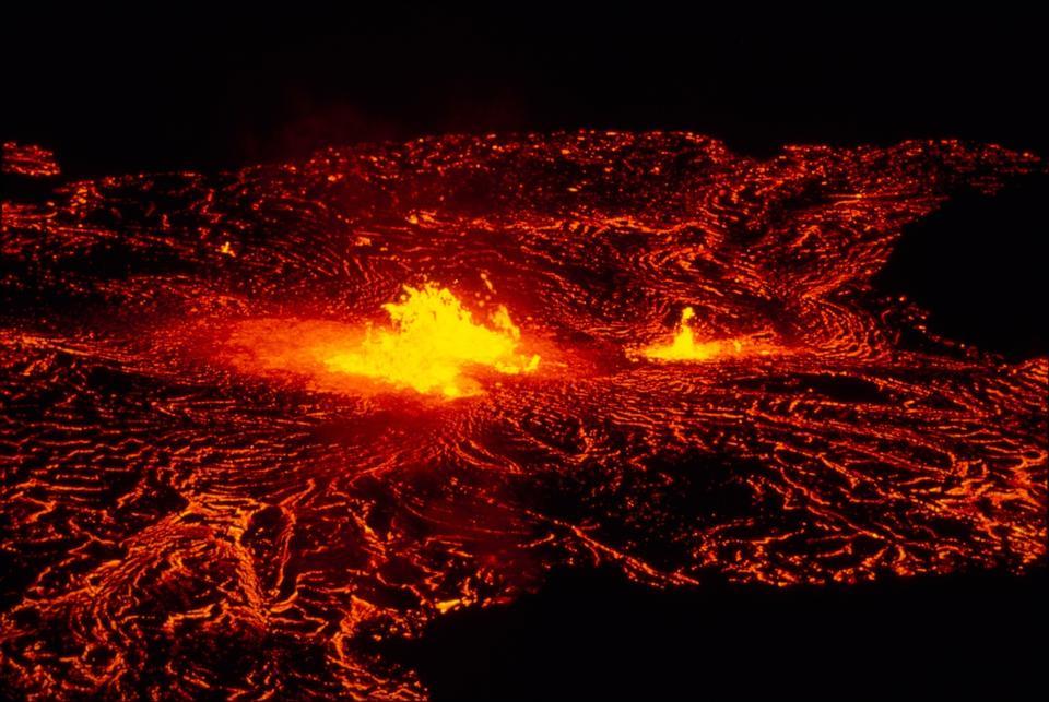 A lava flow emerges