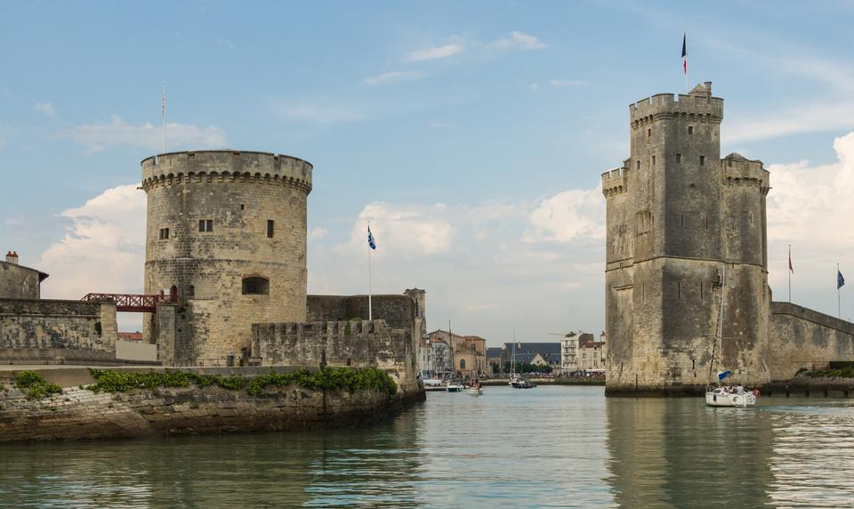 Entrance of old harbor La Rochelle, Charente-Maritime, France