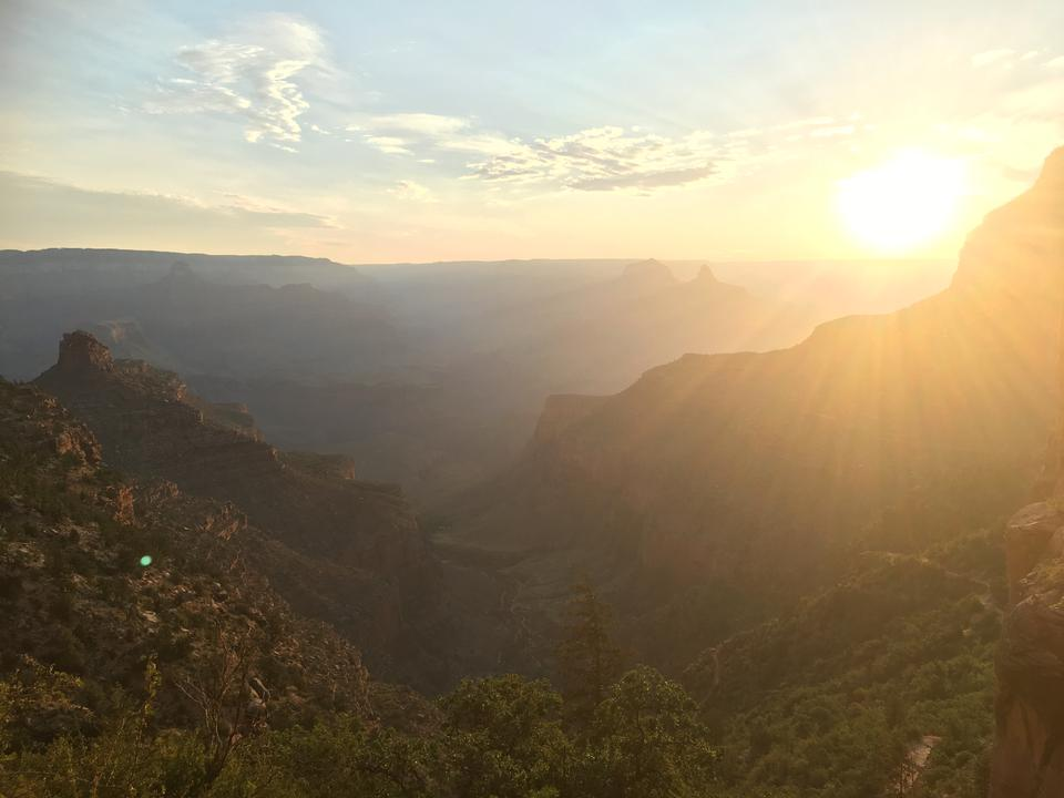 Sunset at the Grand Canyon south rim at Yaki Point