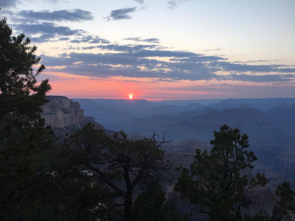Sunset at the Grand Canyon south rim at Yaki Point