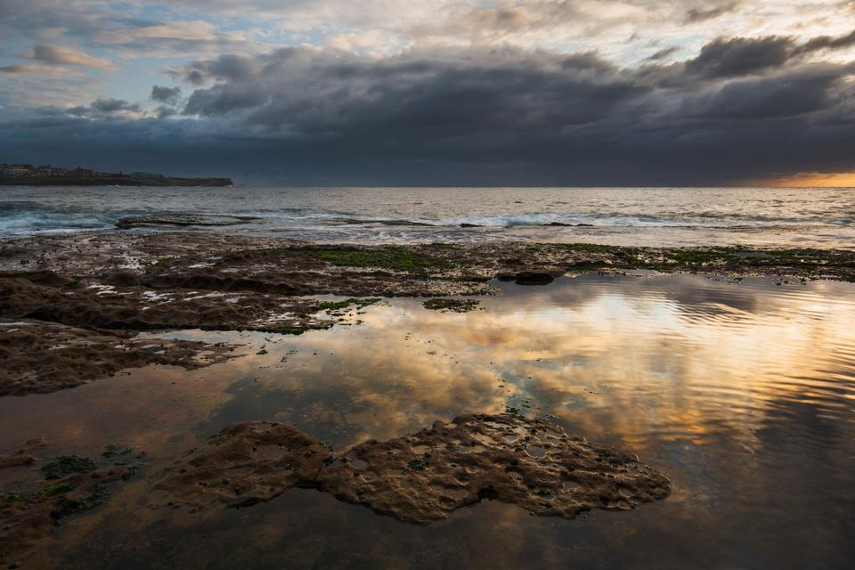 Seascape with grum sky and reflections