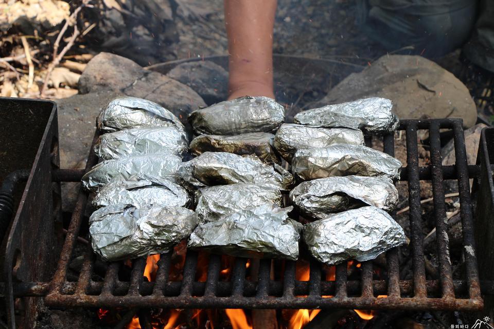 在野營的爐子上烹飪食物