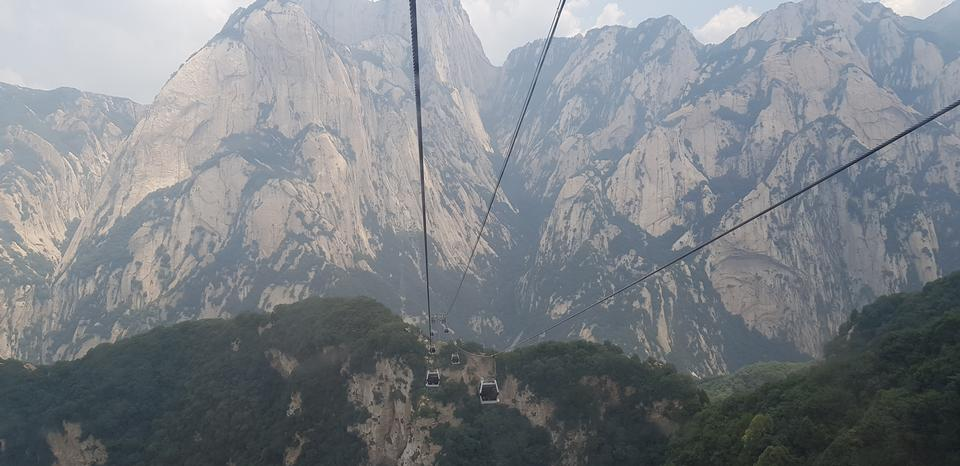 The cable car of mountain, China, Xian