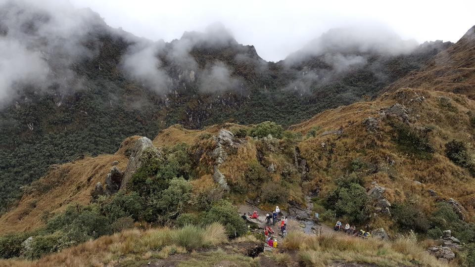 Tourists hiking the Inca Classic Trail in Peru