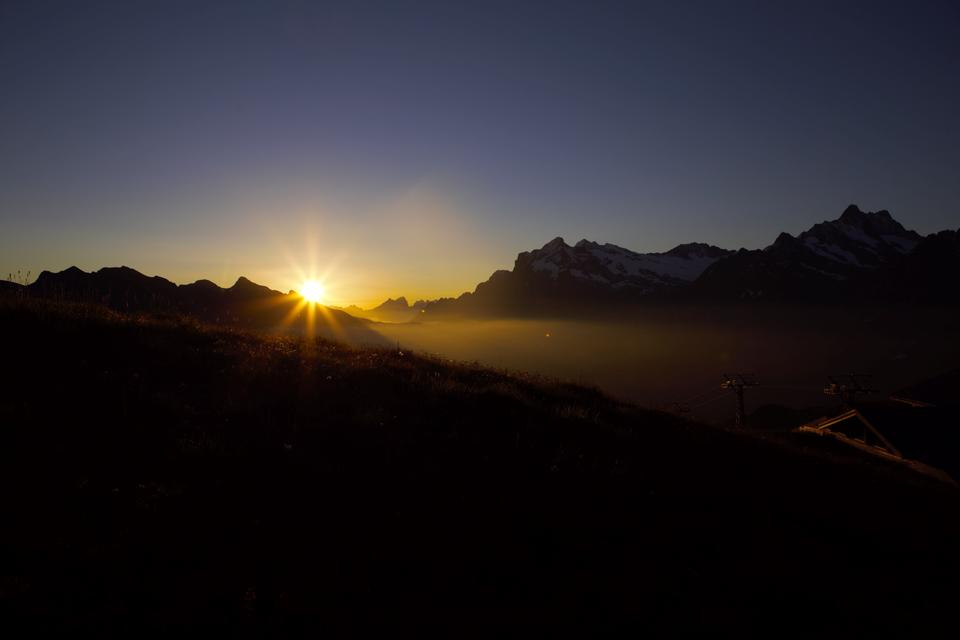 the Chamonix Valley, the sunset overlooking the glacier