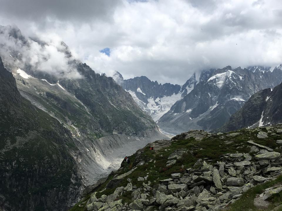 View  MontBlanc massif Chamonix snow