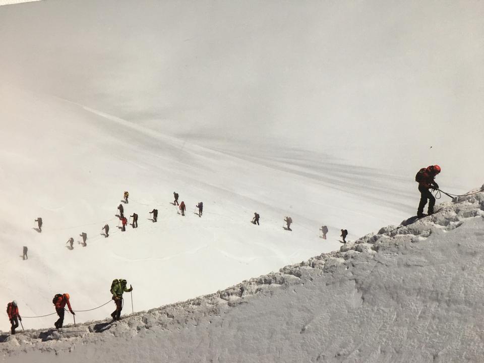 Hikers on glacier at Aiguille du Midi, Chamonix