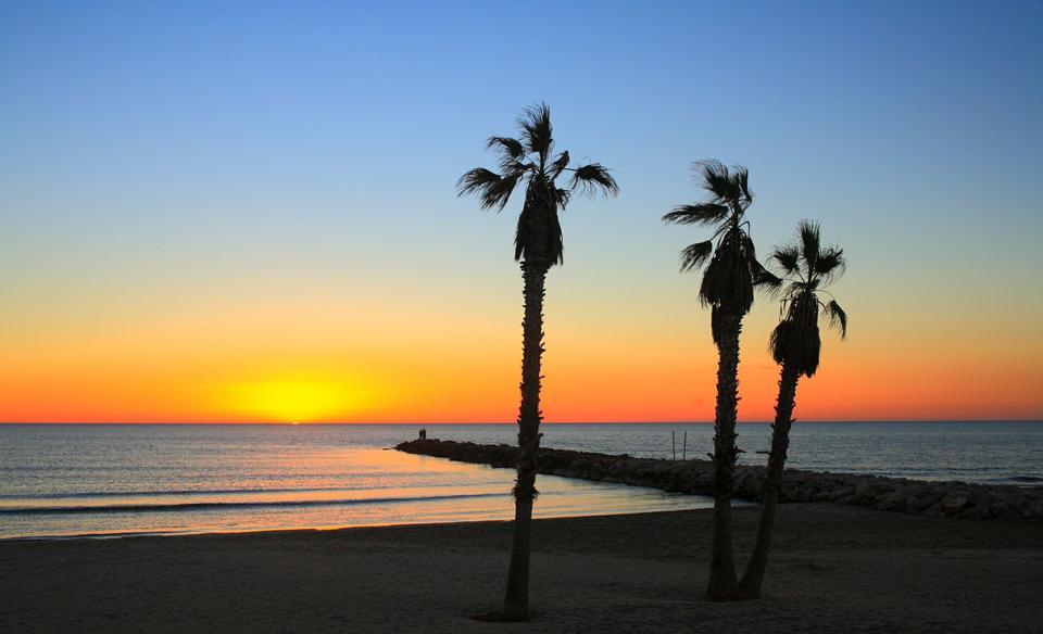 The sunrise in Alboraya, Valencia, Spain