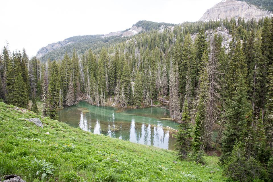 Granite Canyon with lake in Grand Teton National Park