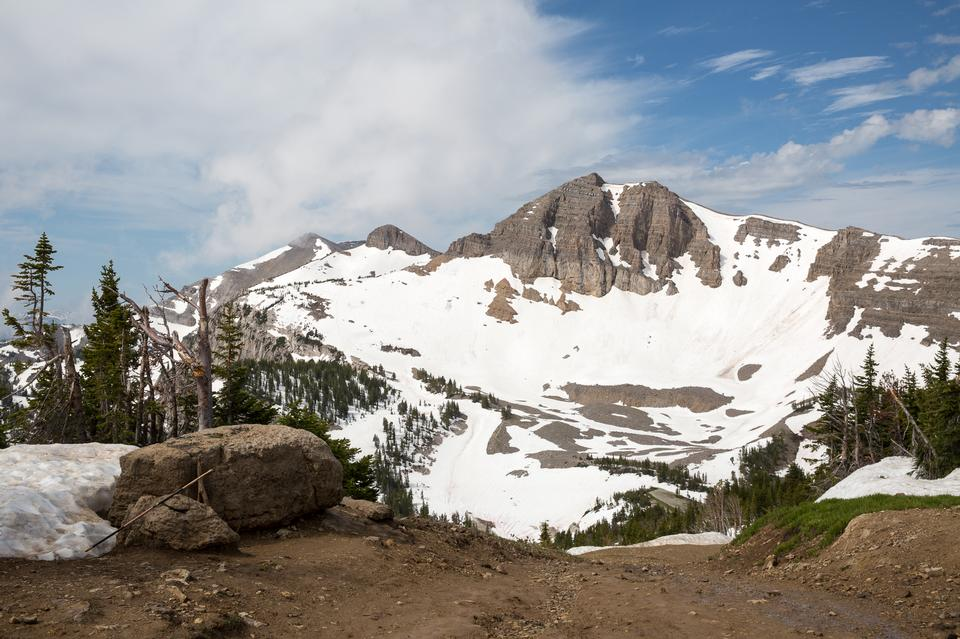 Granite Canyon with snow in Grand Teton National Park