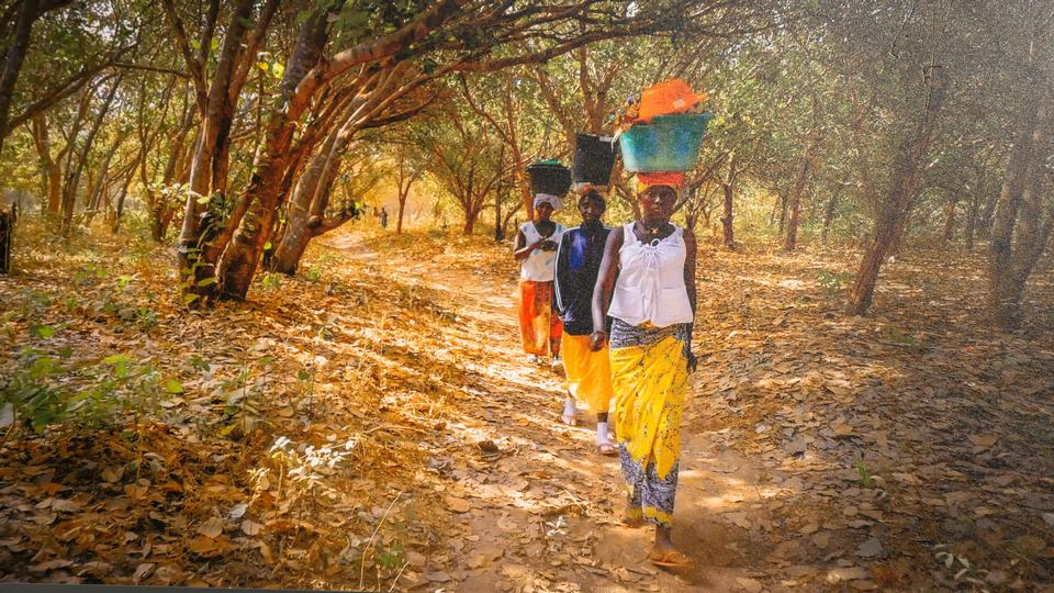 Unidentified African women walking with water containers