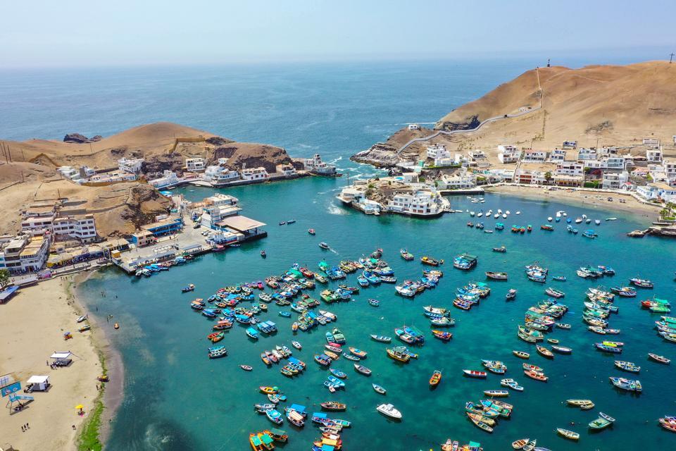 Harbor of traditional mediterranean village at a sunny summer day
