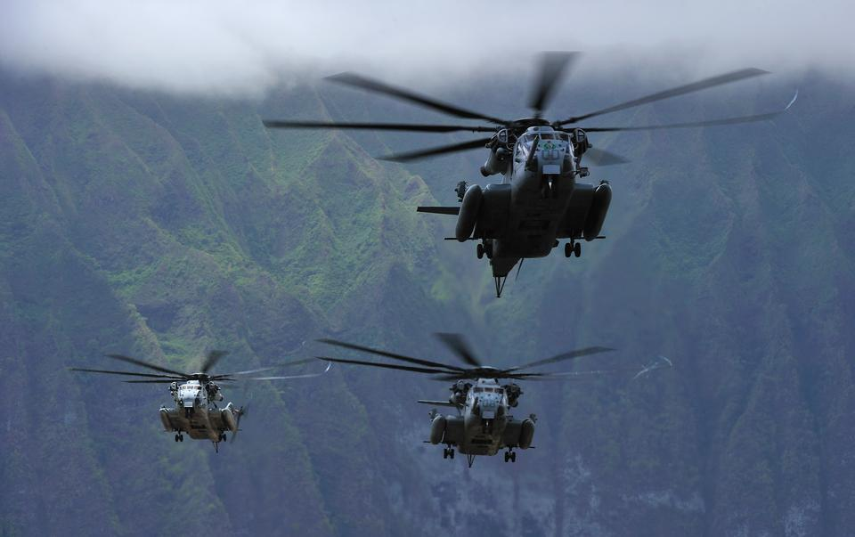 Three Marine CH-53E Super Stallion helicopters