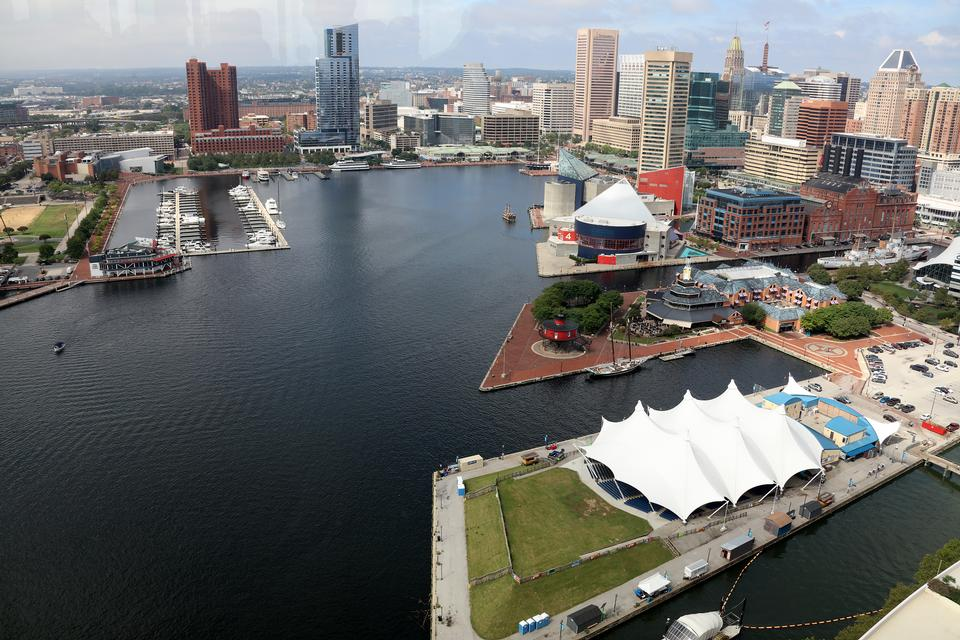 Downtown city skyline, Inner Harbor