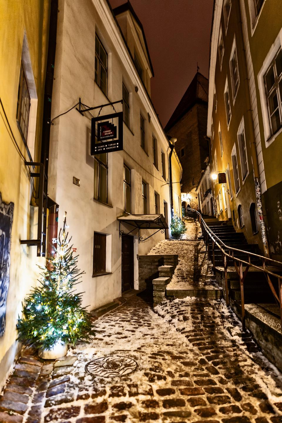 Street in a Christmas night in an old European town