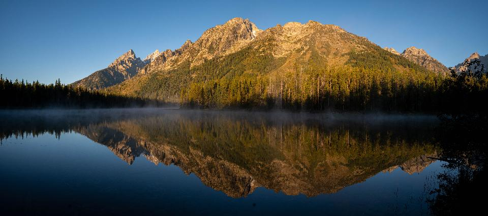 Panoramic view of Grand Teton range in Grand Teton National Park