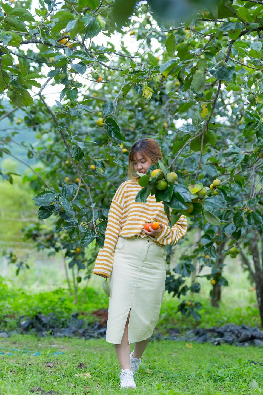 野花花园里的漂亮亚洲女孩