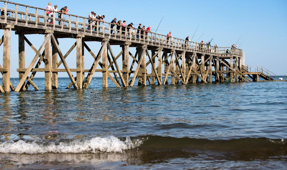 Fishing from the Pier on Beach