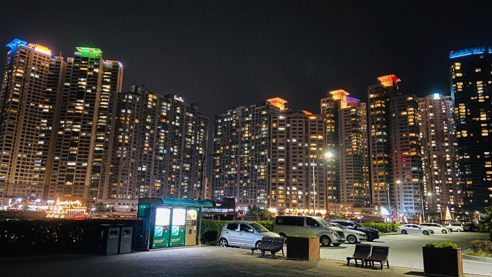 Nightscape Haeundae Beach in Busan South Korea