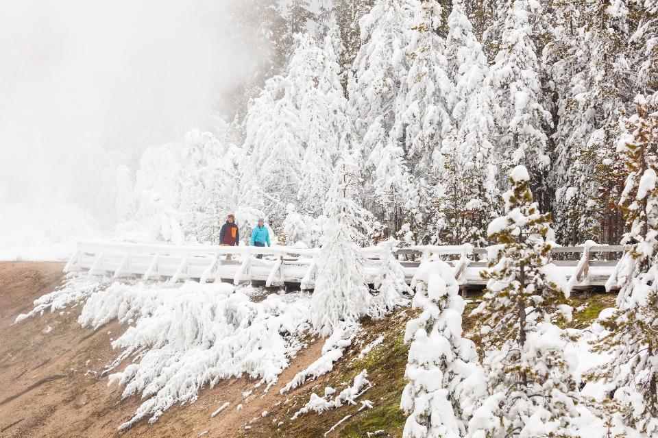 Explorer le long d'une promenade couverte de glace de givre