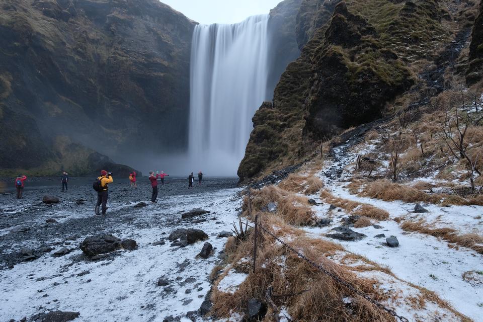 Frozen beautiful waterfall Seljalandsfoss
