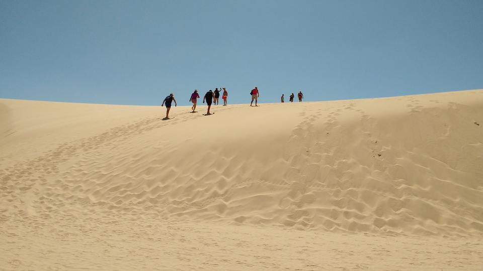 Rainwater lagoon and sand dunes in Lencois Maranhenses