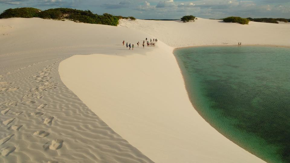Rainwater lagoon and sand dunes in Lencois Maranhenses
