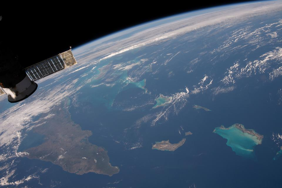 Sailing Over the Caribbean From the International Space Station