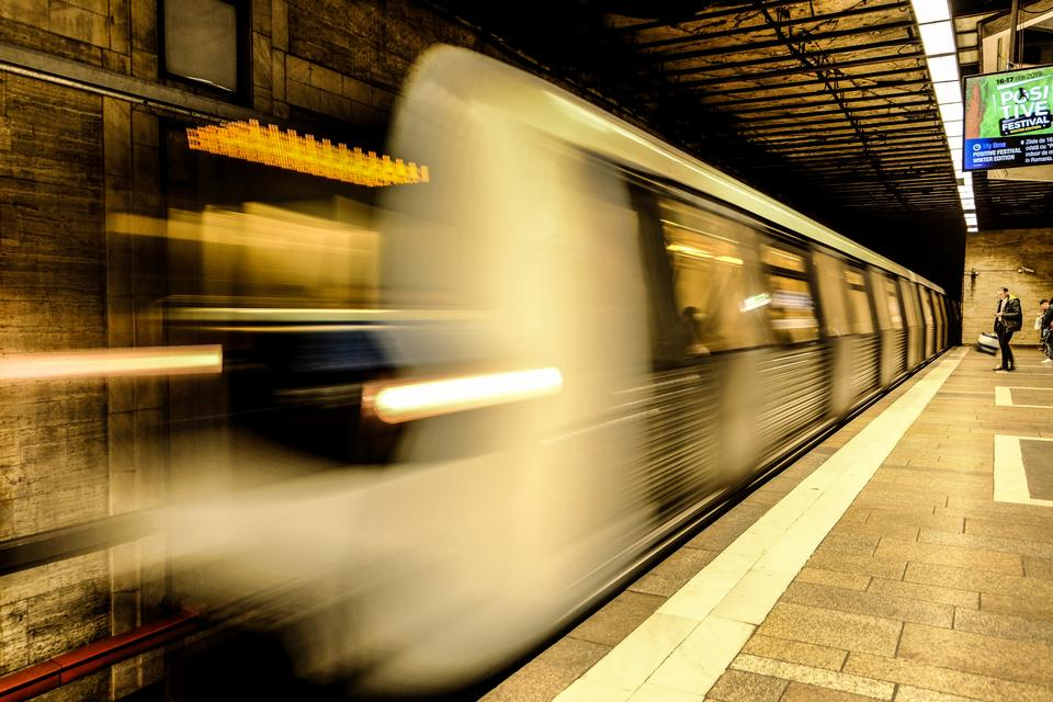 Subway tunnel with Motion blur of a city