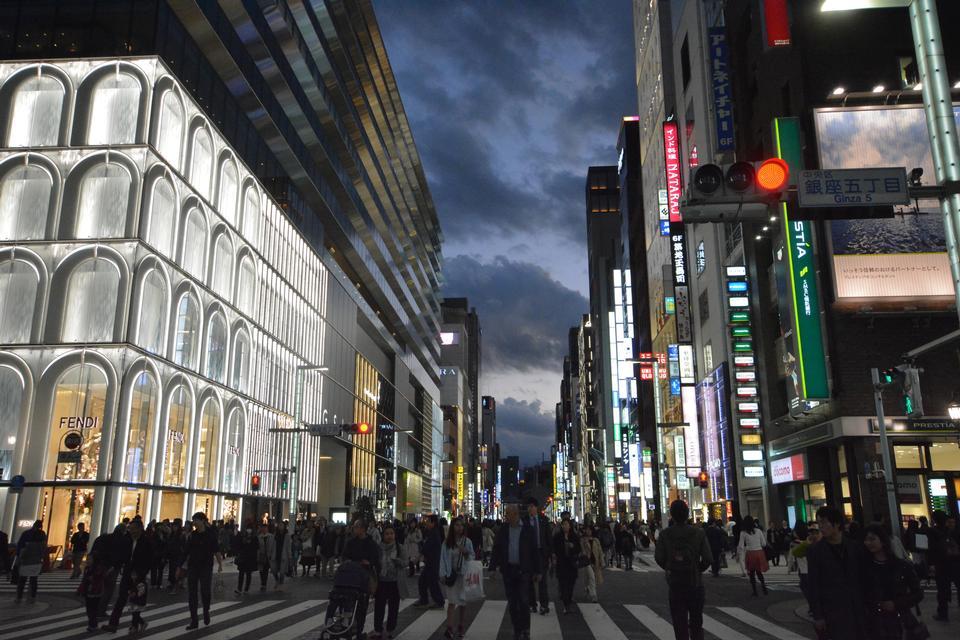 Ginza crossroad at night in Tokyo Japan