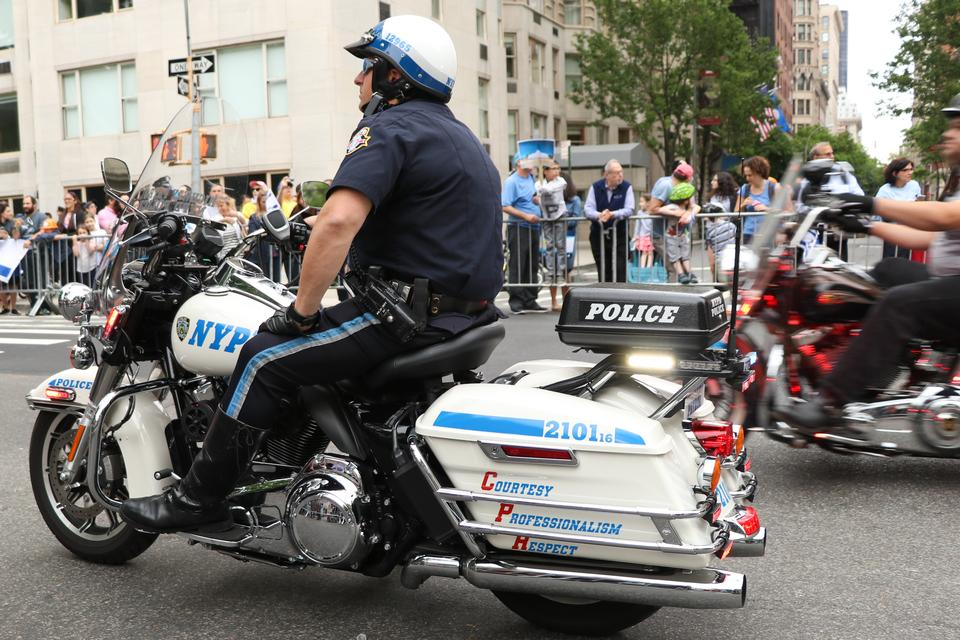 NYPD officers on motorcycles providing security